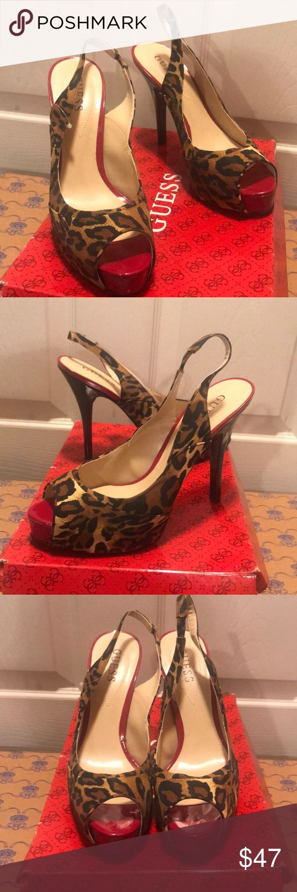 Guess Leopard heels Guess Leopard and red platform heels  Brand new never worn .  Original box is alittle broken but shoes are fine Guess Shoes Heels