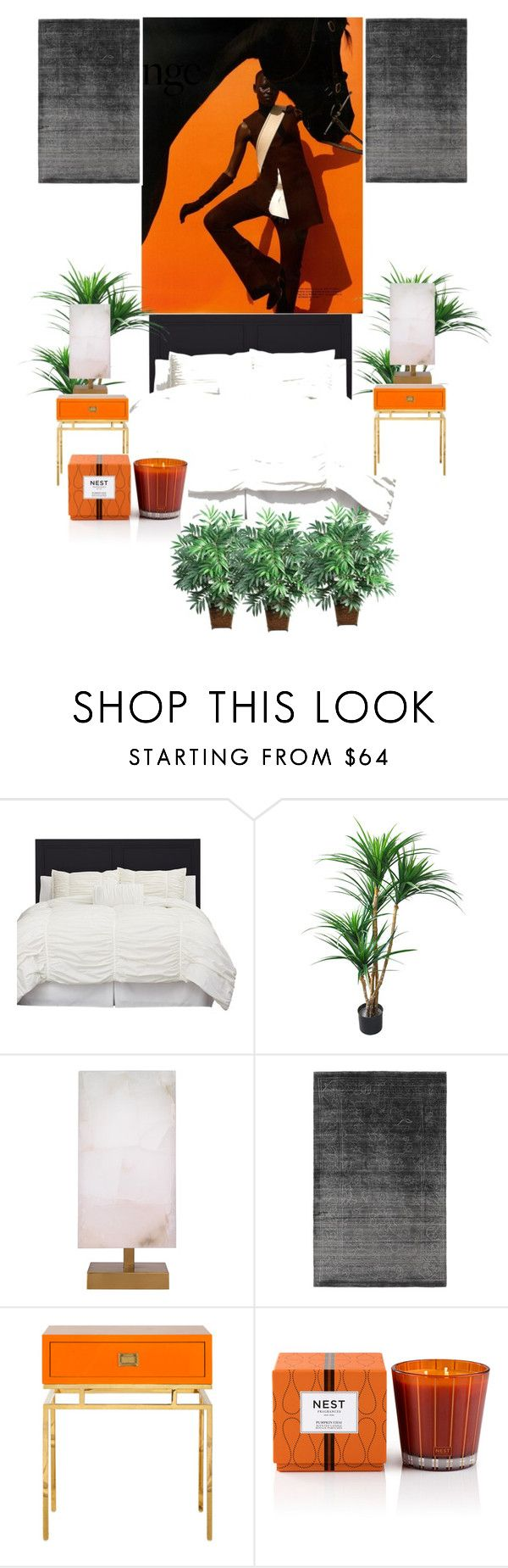 """Sans titre #2"" by morgane-von-platen ❤ liked on Polyvore featuring interior, interiors, interior design, home, home decor, interior decorating, Jamie Young, Nest Fragrances, Nearly Natural and orangeandblack"