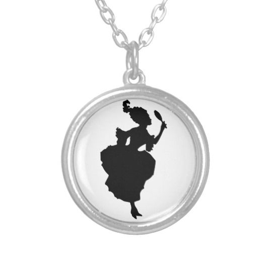 18th Century Fashion Silhouette Silver Necklace