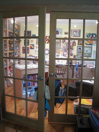 lovely French doors leading into quilting studio