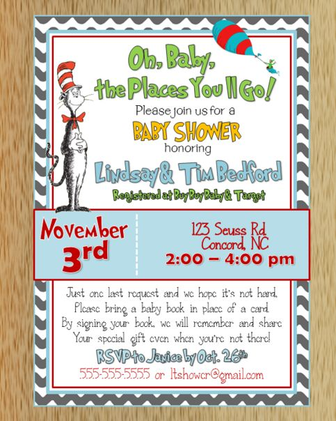 Dr. Seuss Baby Shower Invitation ; was just discussing this book idea with him :)! Love it!!