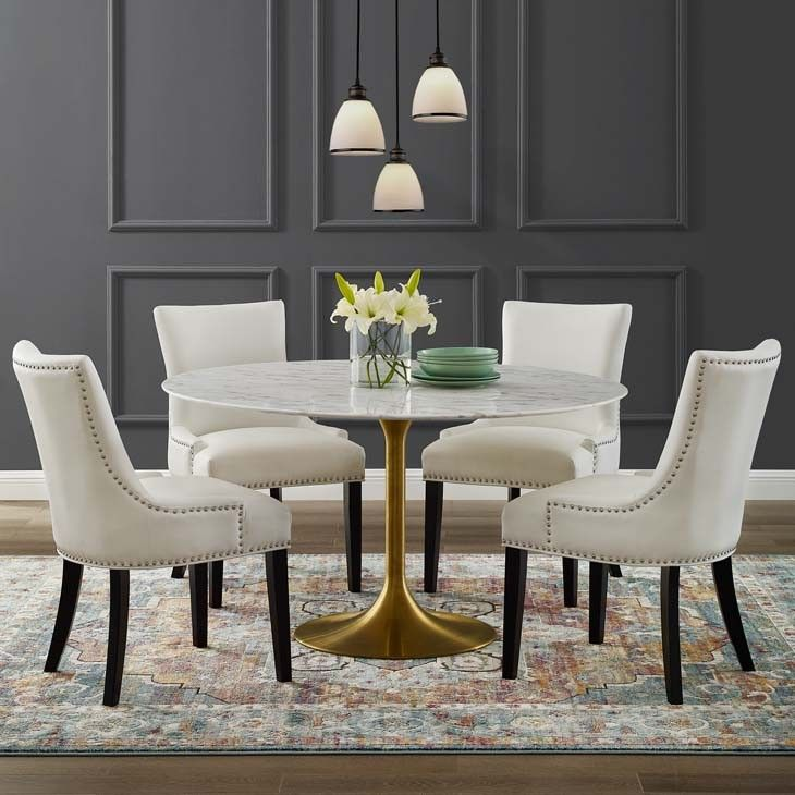 Tulip Dining Table With 54 Round Marble Top Gold Base