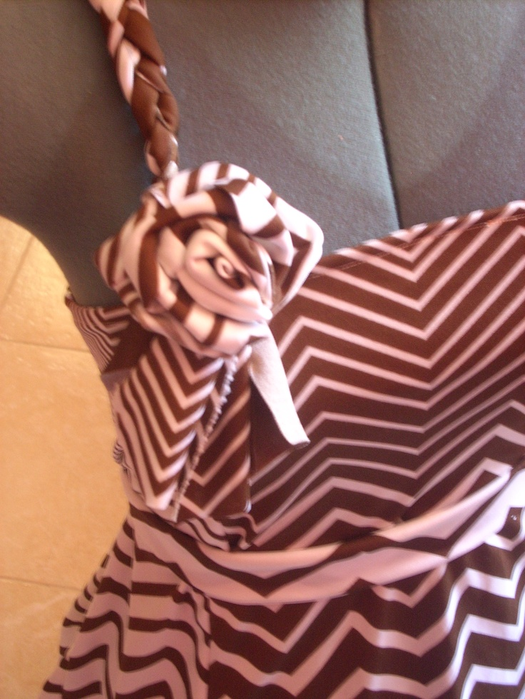 One-shoulder dress with a waist belt and floral brooch, handmade