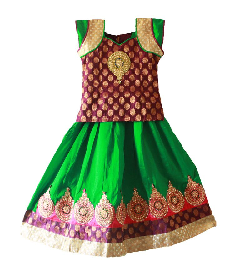 Kids girls pattu pavadai / lehenga / pavada for 6 - 7 years - Free shipping all over India   http://www.princenprincess.in/index.php/home/product/244/Purple%20and%20green%20designer%20pavadai