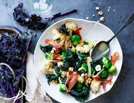 Winter Vegetable Saute with Prosciutto and Hazelnuts