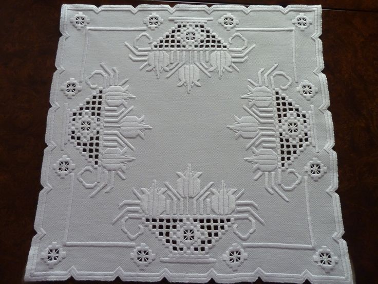Hardanger piece. No pattern, but easily figured out.