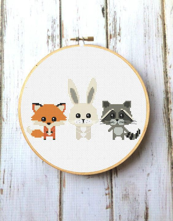 Animals Cross Stitch Pattern for baby Woodland animals