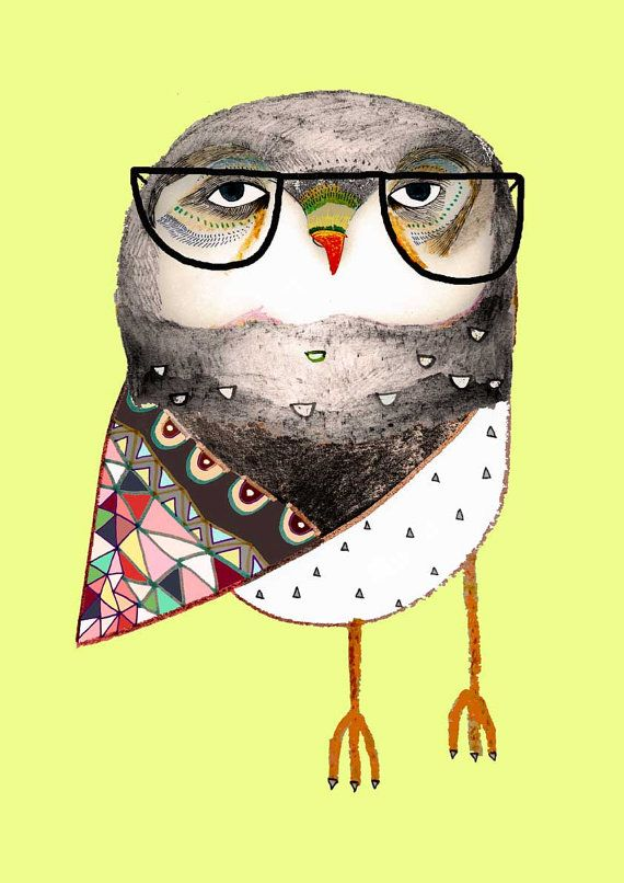 The Cutest Owl. Illustration Owl Drawing Print. by AshleyPercival