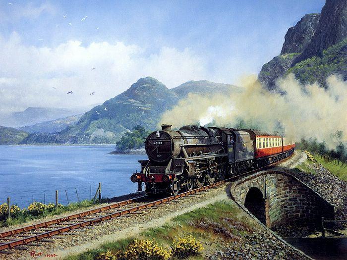 painting old beautiful train - photo #18