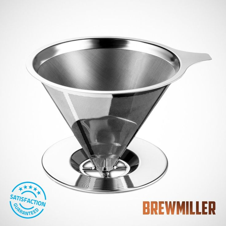 BrewMiller Stainless Steel Coffee Filter - for Paperless Pour Over Coffee Brewing - Reusable Cone Shaped Drip Coffee Filter $12.00 @ https://thesuperstyle.com $12.00 BrewMiller Stainless Steel Coffee Filter - for Paperless Pour Over Coffee Brewing - Reusable Drip Cone Coffee Filter Description:  All of the essential oils and flavors end up in your cup No leaching, no contamination, healthies choice  ☘ NO MORE PAPER FILTERS : Everytime you use a paper filter your coffee absorbs the taste of…