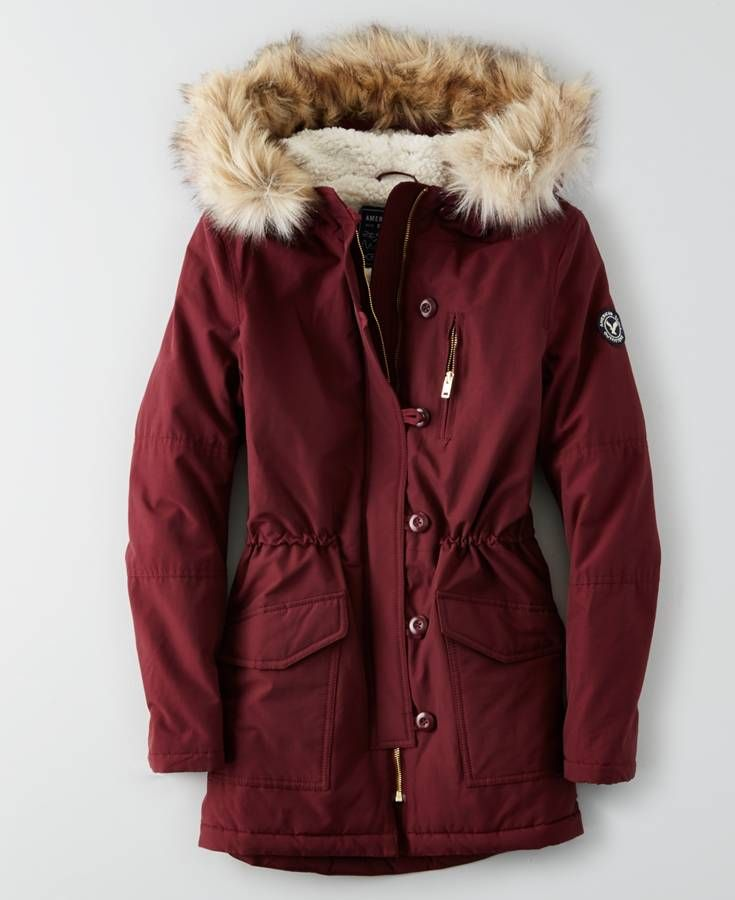 AEO Long Parka, Women's, Dark Maple