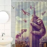 Sharp Shirter Slothzilla Shower Curtains