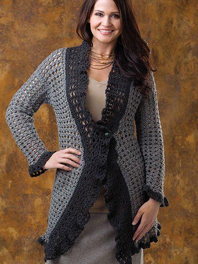 Crochet - Crochet Clothing - Cardigan Patterns - Flowing Lace Cardigan