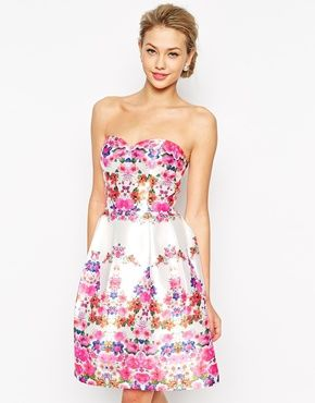 Chi Chi London Bandeau Full Midi Prom Dress In Floral Print