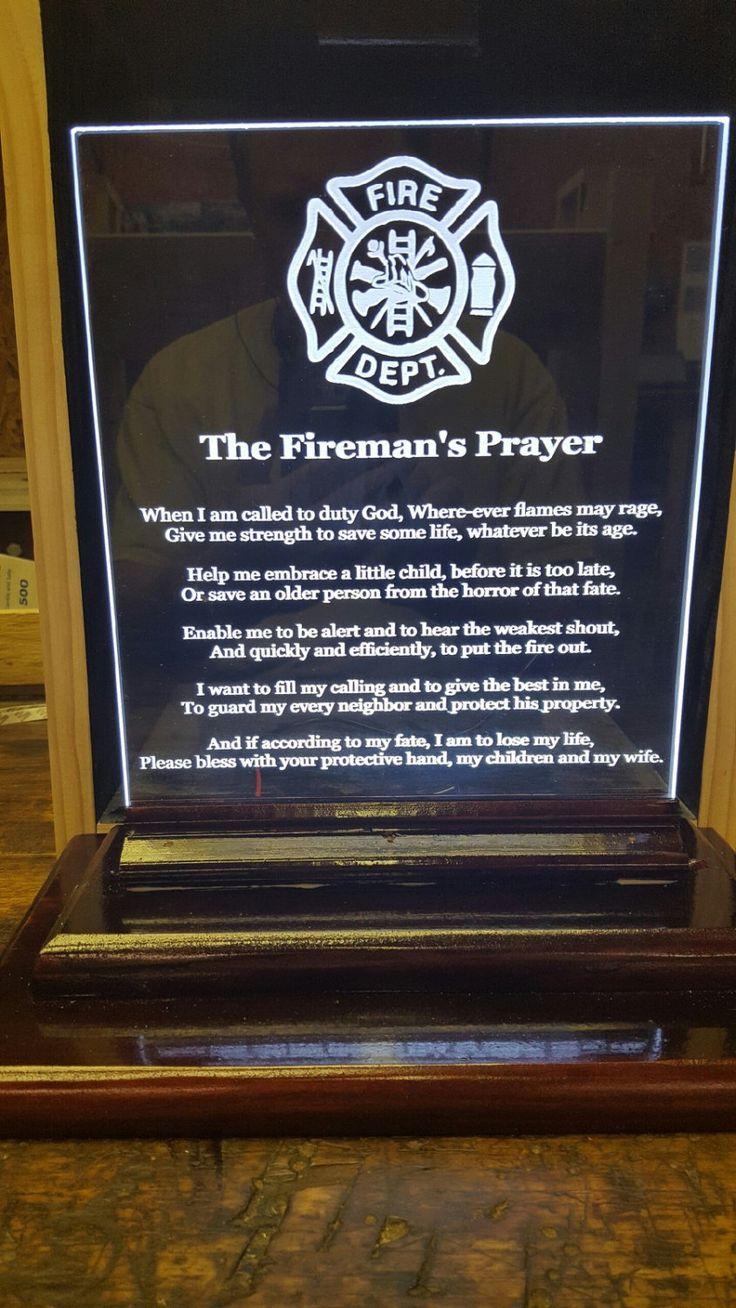 Fi fireman tattoo designs - Acrylic Edge Lit Led Signs Fireman S Prayer Fireman S Wife Prayer 8x10 Inches