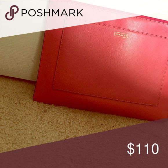 Pink coach clutch Pink coach clutch with outside and inside pockets Coach Bags Clutches & Wristlets
