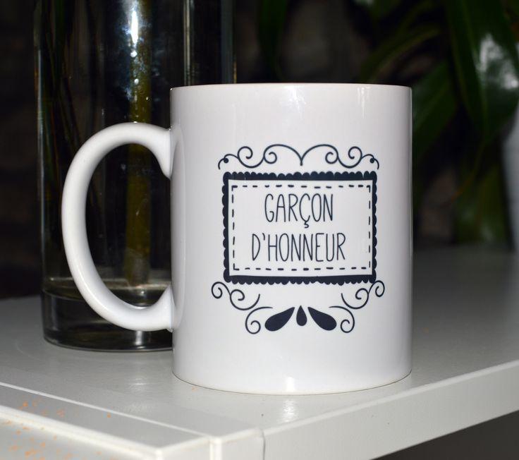 le mug tasse gar on d 39 honneur sp cial mariage noir et blanc personnalisable cadeau mariage et mugs. Black Bedroom Furniture Sets. Home Design Ideas