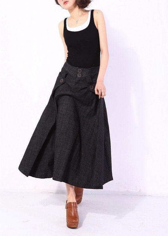 Heartbeat/Womens Clothing Womens Skirt Casual Skirt Pleated Skirt Plus size Skirt Black Skirt Mid Calf Skirt Ankle Length Skirt KL003S