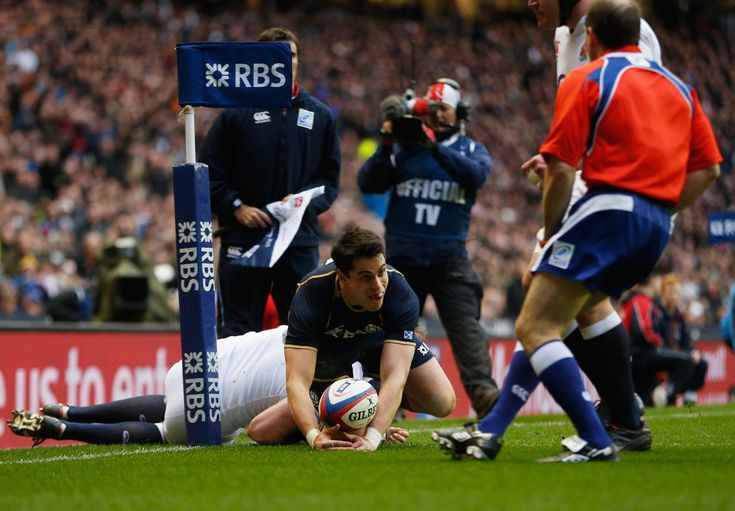 Sean Maitland of Scotland goes over to score the opening try during the RBS Six Nations match between England and Scotland at Twickenham Stadium on February 2, 2013 in London, England.