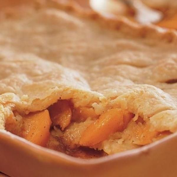 A cobbler with not one, not two, but three flaky crusts? Yes, please. And there's no slicing or peeling required, as this recipe calls for sliced canned peaches. Go a la mode with vanilla or sassy cinnamon ice cream.