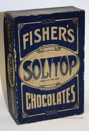"Chocolate / Box of ""Fisher's Solitop Chocolates"" ca. 1900. (Hoboken Historical Museum)"
