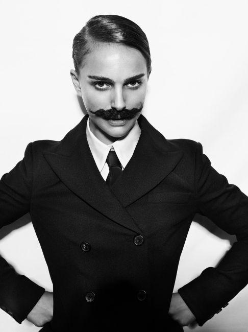 Natalie Portman with a moustache