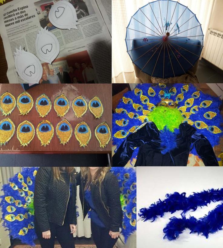Peacock Costume / Disfraz de pavo real con paragüas de Geisha, cartulina y boas.