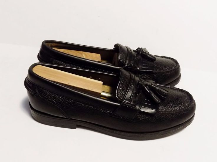 Chaps Ralph Lauren Mens Shoes Black Leather Tassel Loafers Size 8 M #ChapsByRalphLauren #LoafersSlipOns
