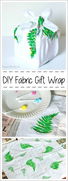 DIY Fabric Gift Wrap: Make your own reusable wrapping paper from fabric- 3 easy ways! Perfect for Christmas, Earth Day, and Birthdays. Makes a fun craft to do with the kids and help reduce waste! (Furoshiki) ~ BuggyandBuddy.com