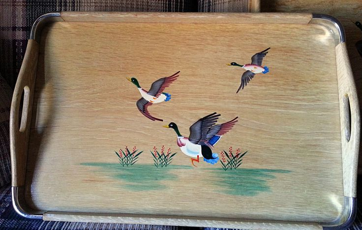 3 Mid Century Modern Scenic Geese Wood Serving Trays - Made by Jet Line of Japan (50.00 USD) by Midcenturyorbust