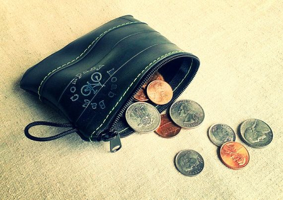 Minimalist Wallet or Coin Purse made from Recycled Bike Tube by MoabBagCompany, $14.00