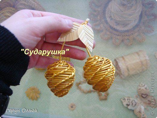 Поделка изделие Плетение Ягоды грибы  Соломка фото 3