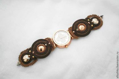 Часы ручной работы. Заказать Часы на сутажном браслете. Allushka. Ярмарка Мастеров. Сутажные украшения, часы, beads, нейлоновая нить