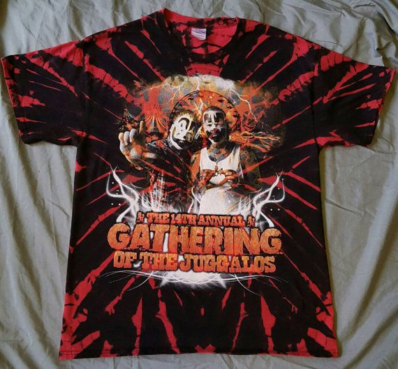 Reverse Tie Dye 14th Annual Gathering Of The Juggalos Tee ICP Insane Clown Posse