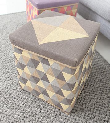Пуф - коробка для вещей Triangle Scandic Jute (разные цвета) / Серый