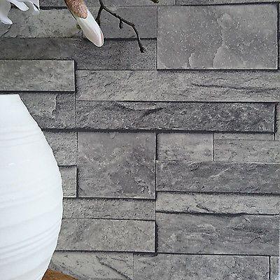 'Split Face Tile' Effect 3D Textured Faux Slate Stone Effect Wallpaper in Grey