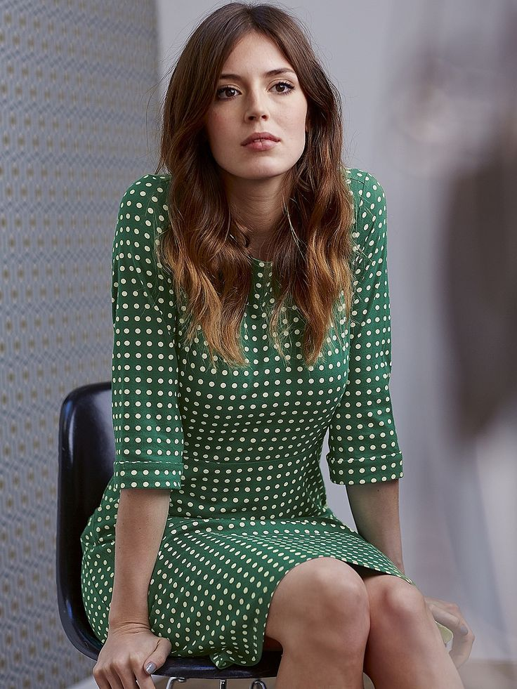 Womens dark emerald spot jersey dress from White Stuff - £59.95 at ClothingByColour.com