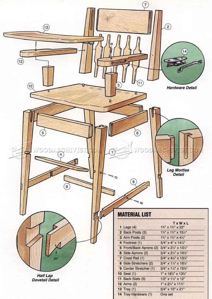 High chair plans children 39 s furniture plans bri for Planos de carpinteria de madera