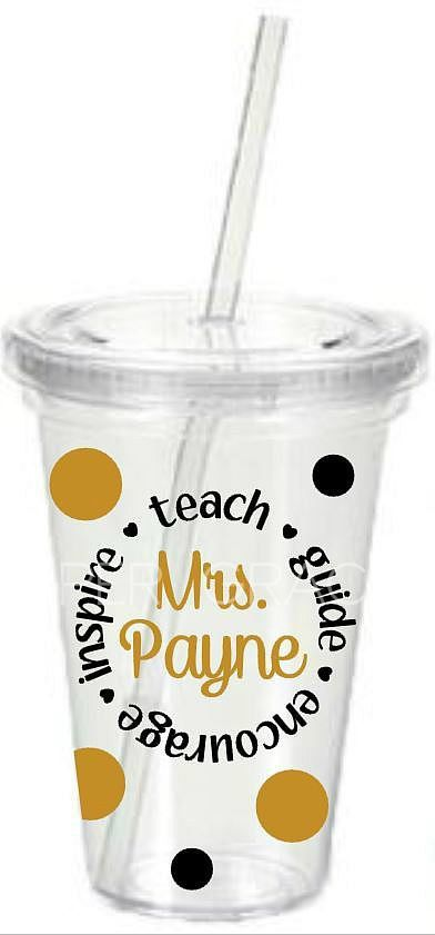 Acrylic Double Wall 16 oz Tumbler with straw. 6 1/4 x 4 Includes name and inspirational words in a circle outline in vinyl.  Perfect gift for a