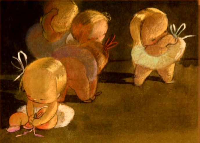 """Sylvia Moberly-Holland, with assistance by Mary Blair. Concept art for Disney. """"Baby Ballet,"""" an abandoned Disney project.""""Baby Ballet"""". Sylvia Moberly-Holland was the main designer. I LOVE THIS! I think it was going to go into the Fantasia series but never made it."""