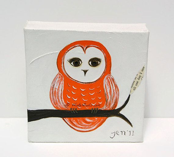 Original Owl Painting, Orange Bird Illustration, Whimsical Art, Small Canvas Art