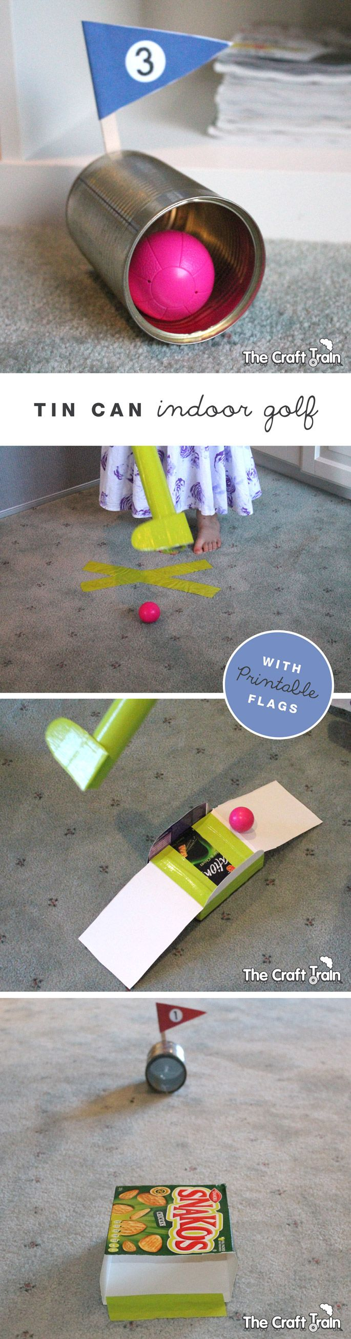 Indoor DIY golf course made from recyclables