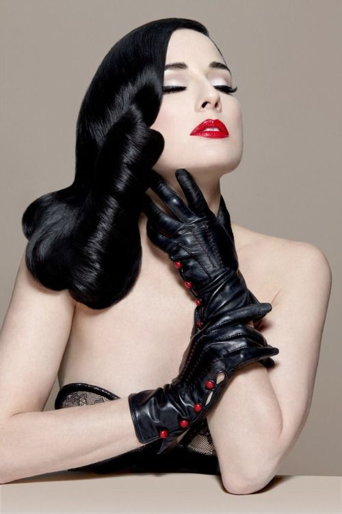 BLACK LEATHER  gloves  Gloved and Mitted  Dita von Teese Dita von teese style Dita von tease