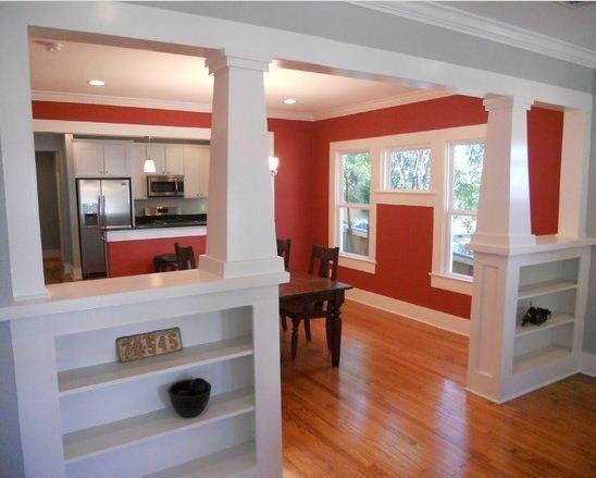 craftsman interior, room divider with shelving