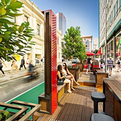 Just the perforated red metal element (Bank Street Parklets Adelaide)