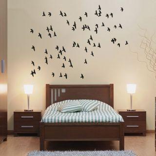 Наклейка по тематике от 2stick.ru.Стая птиц улетает в теплые края