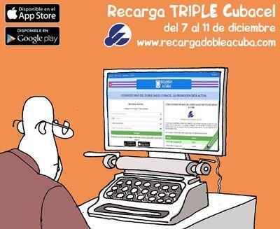 Recarga TRIPLE a Cuba del 7 al 11 de diciembre de 2015. Saldo Adicional Cubacel Recargas a Cuba en www.recargadobleacuba.com #Cuba #Cubacel #Etecsa