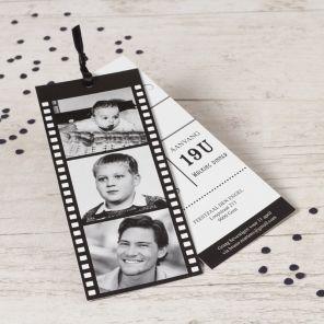 Verjaardagskaart: Fotofilm labels in zwart en wit!   Tadaaz #invitation #uitnodiging #feestje www.tadaaz.be