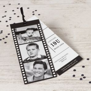 Verjaardagskaart: Fotofilm labels in zwart en wit! | Tadaaz #invitation #uitnodiging #feestje www.tadaaz.be