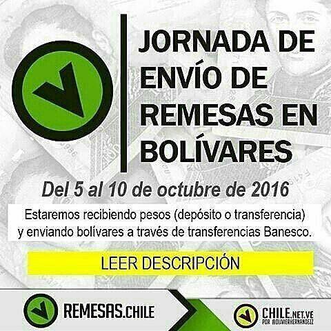 ¡EN PROCESO! Que tal paisanos, les escribe @OlivierHernandezz, les informo que la próxima jornada de @Chile.net.ve para envío de bolívares…